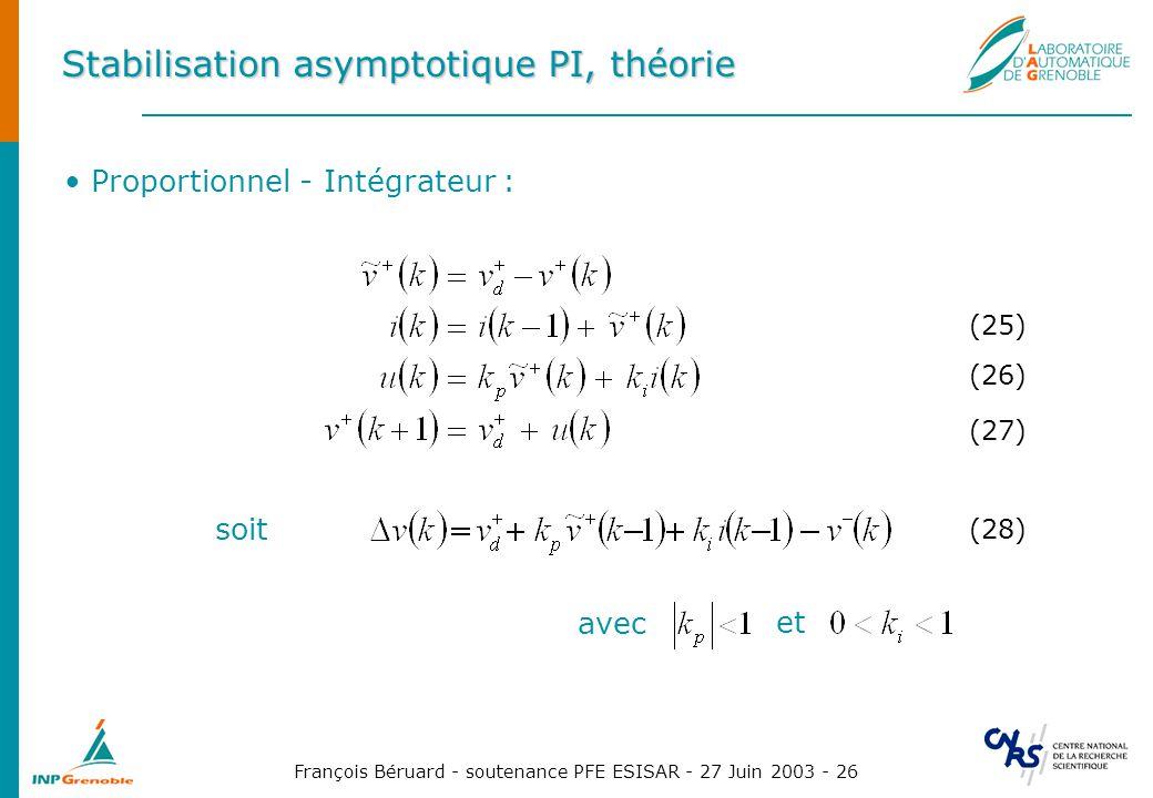 François Béruard - soutenance PFE ESISAR - 27 Juin 2003 - 26 Stabilisation asymptotique PI, théorie Proportionnel - Intégrateur : (25) (26) (27) avec
