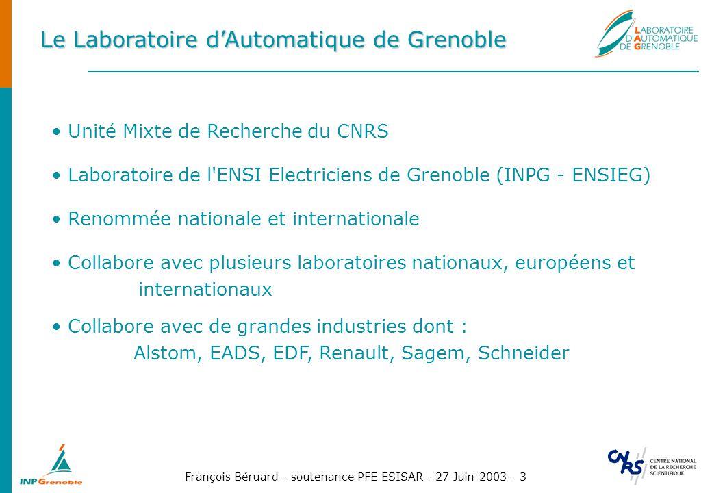 François Béruard - soutenance PFE ESISAR - 27 Juin 2003 - 3 Le Laboratoire dAutomatique de Grenoble Unité Mixte de Recherche du CNRS Laboratoire de l'