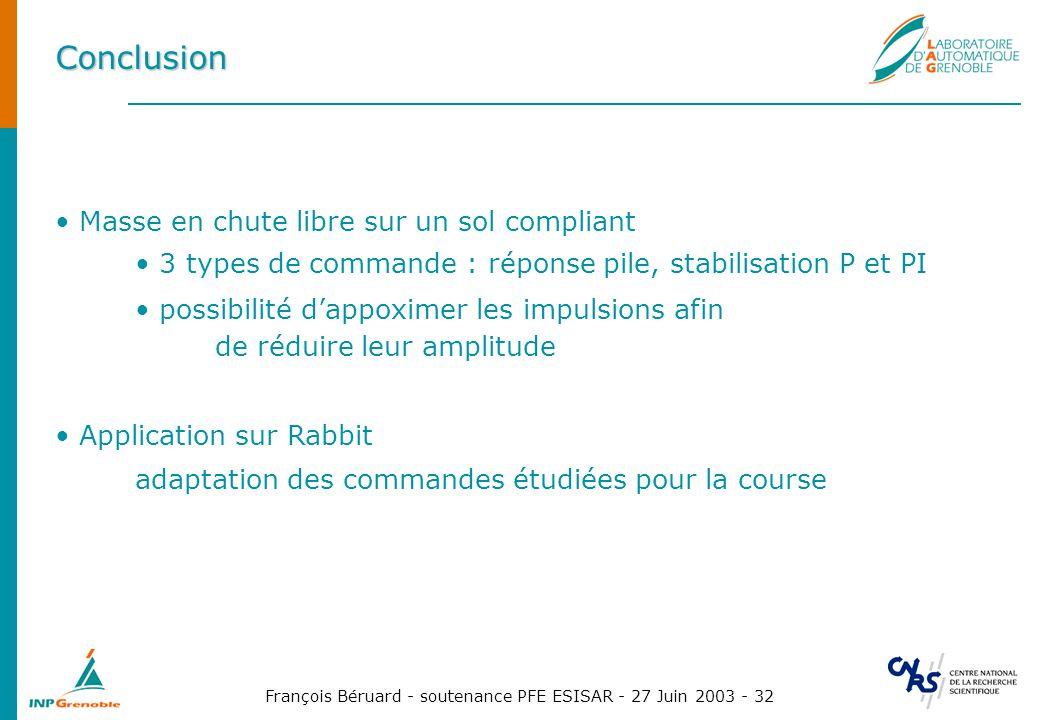 François Béruard - soutenance PFE ESISAR - 27 Juin 2003 - 32 Conclusion Masse en chute libre sur un sol compliant 3 types de commande : réponse pile,