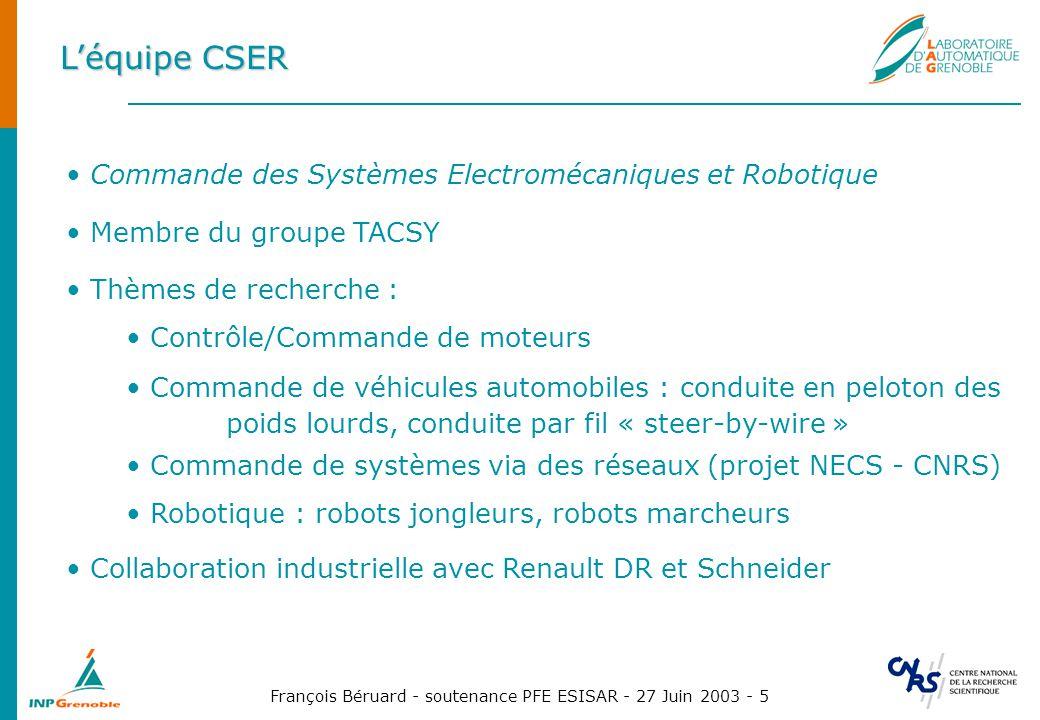 François Béruard - soutenance PFE ESISAR - 27 Juin 2003 - 5 Léquipe CSER Commande des Systèmes Electromécaniques et Robotique Membre du groupe TACSY T