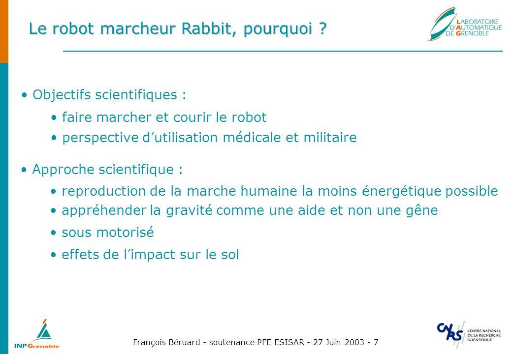 François Béruard - soutenance PFE ESISAR - 27 Juin 2003 - 7 Le robot marcheur Rabbit, pourquoi ? Objectifs scientifiques : faire marcher et courir le