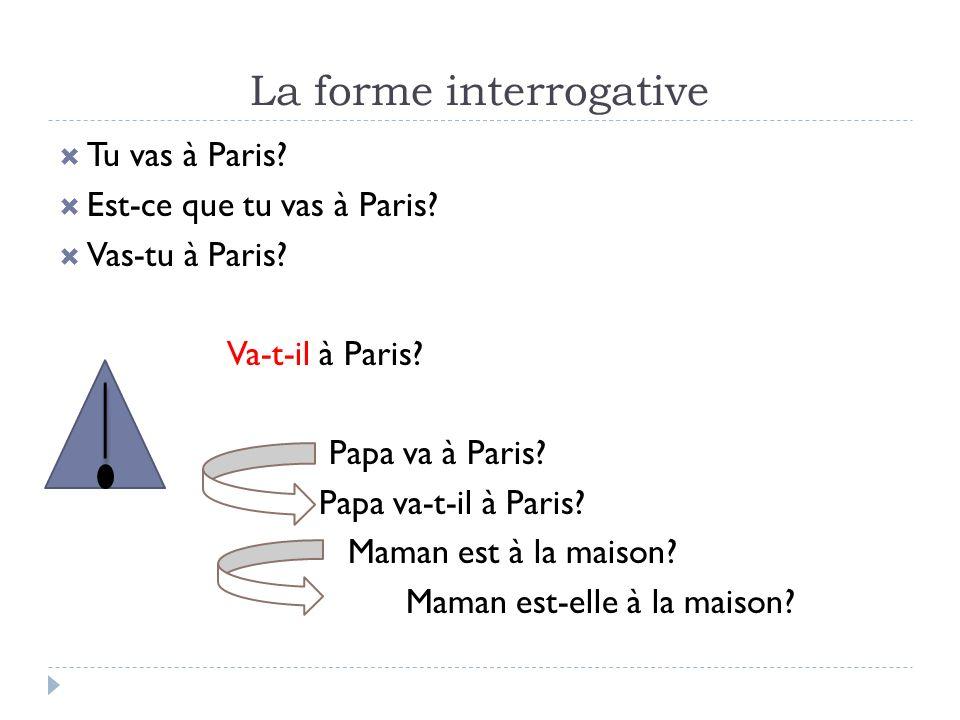 La forme interrogative Tu vas à Paris? Est-ce que tu vas à Paris? Vas-tu à Paris? Va-t-il à Paris? Papa va à Paris? Papa va-t-il à Paris? Maman est à