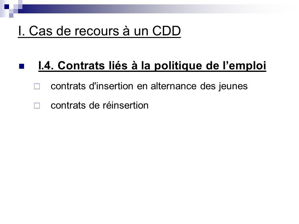 I. Cas de recours à un CDD I.4.