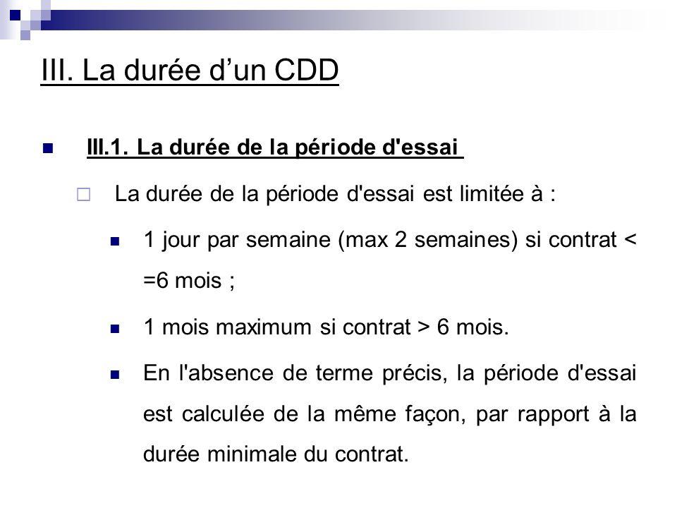 III. La durée dun CDD III.1.