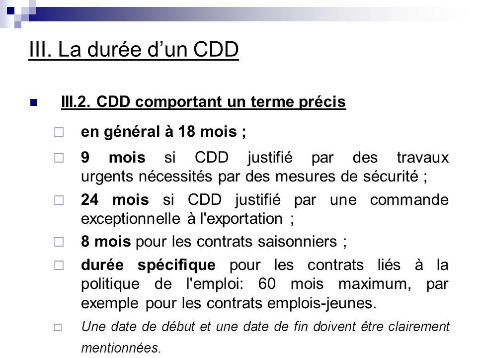 III. La durée dun CDD III.2.