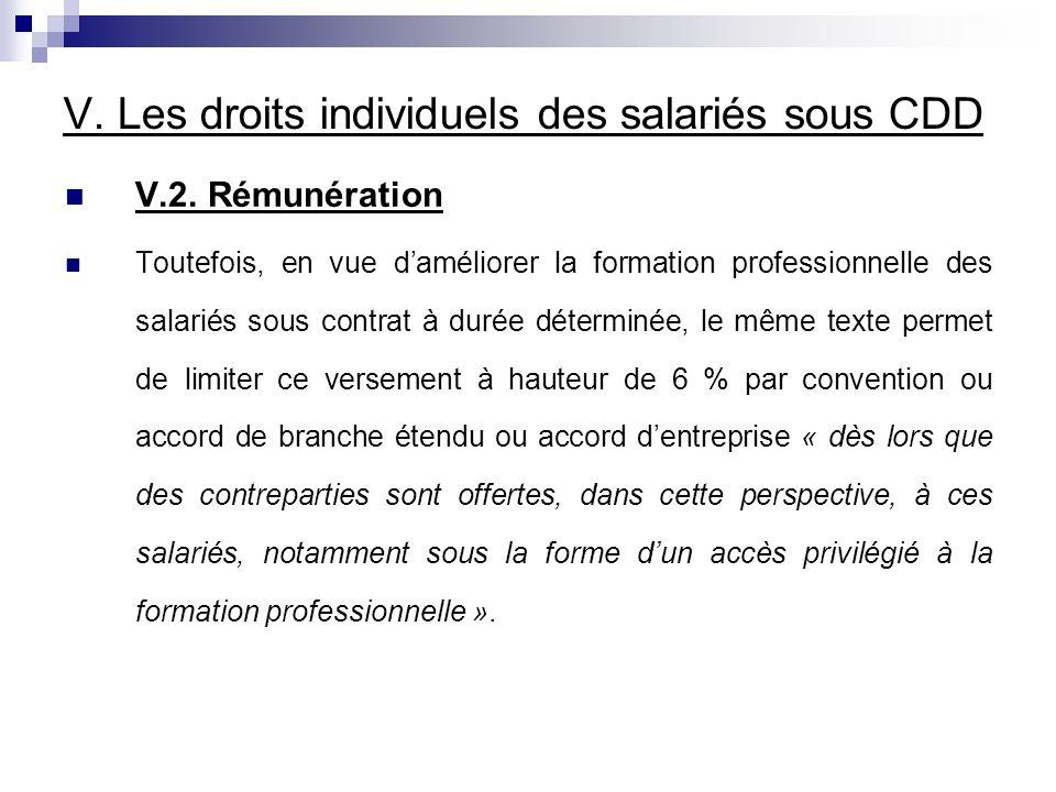 V. Les droits individuels des salariés sous CDD V.2.