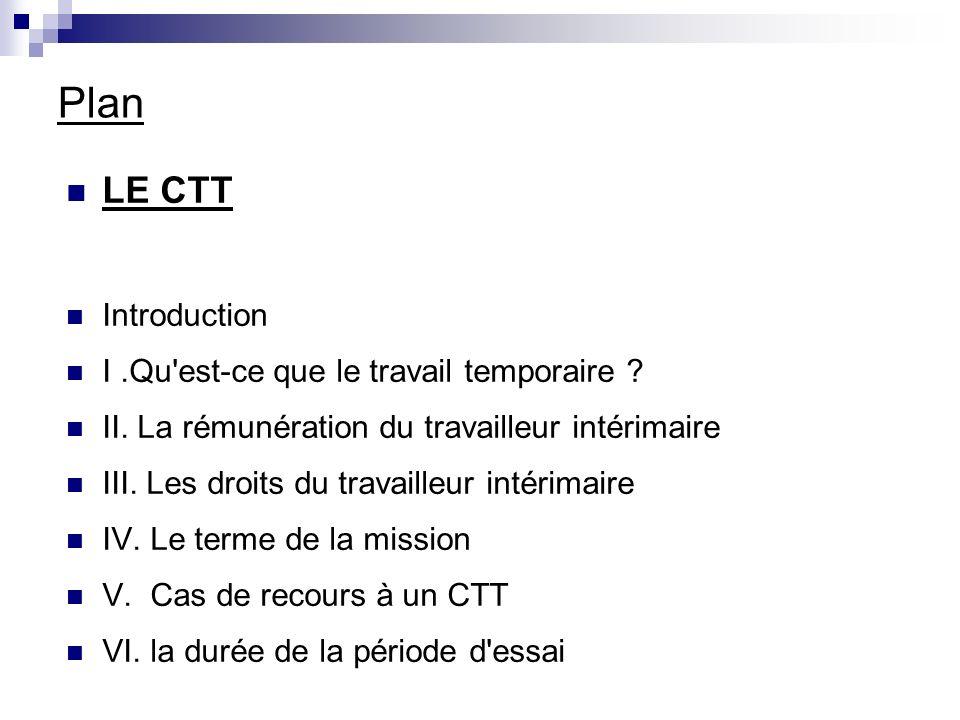 Plan LE CTT Introduction I.Qu est-ce que le travail temporaire .