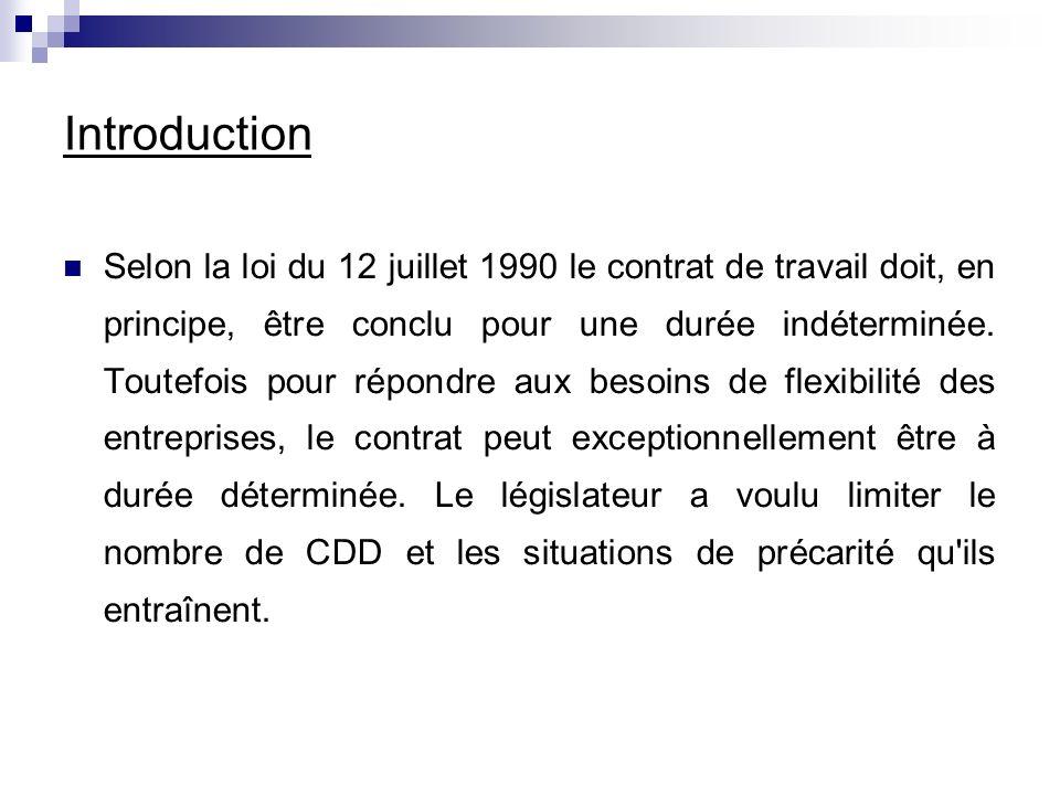 Introduction Selon la loi du 12 juillet 1990 le contrat de travail doit, en principe, être conclu pour une durée indéterminée.