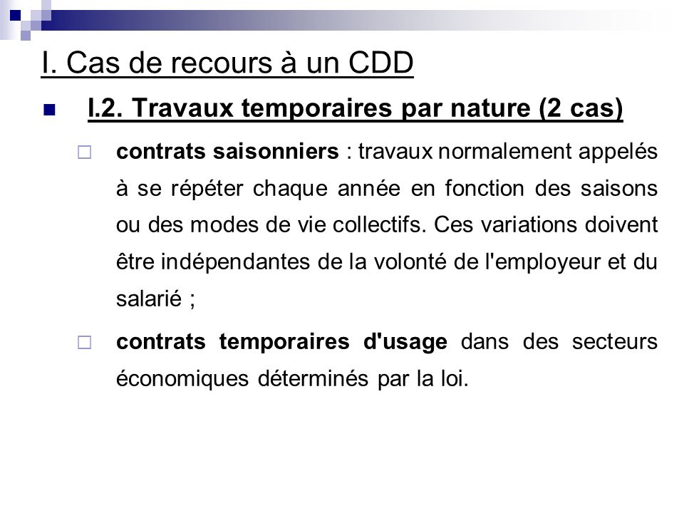 I. Cas de recours à un CDD I.2.