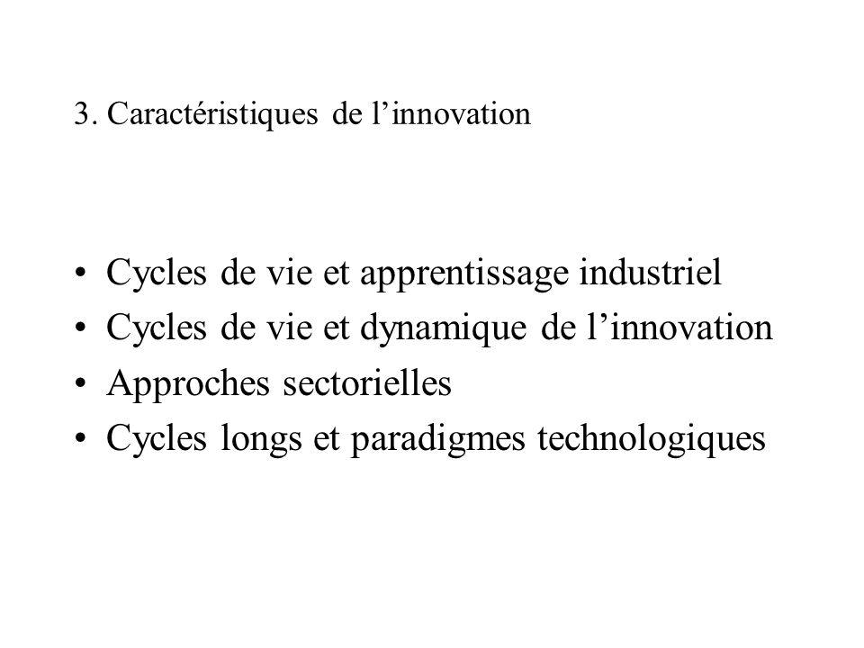 3. Caractéristiques de linnovation Cycles de vie et apprentissage industriel Cycles de vie et dynamique de linnovation Approches sectorielles Cycles l