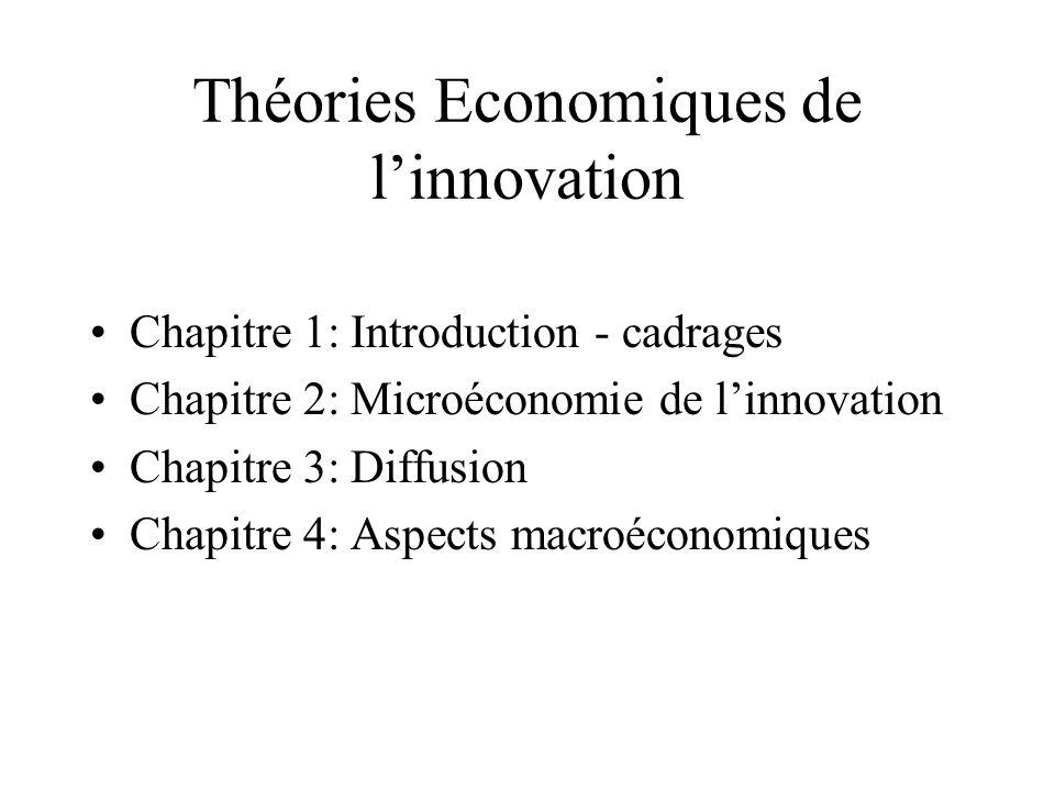 Théories Economiques de linnovation Chapitre 1: Introduction - cadrages Chapitre 2: Microéconomie de linnovation Chapitre 3: Diffusion Chapitre 4: Asp