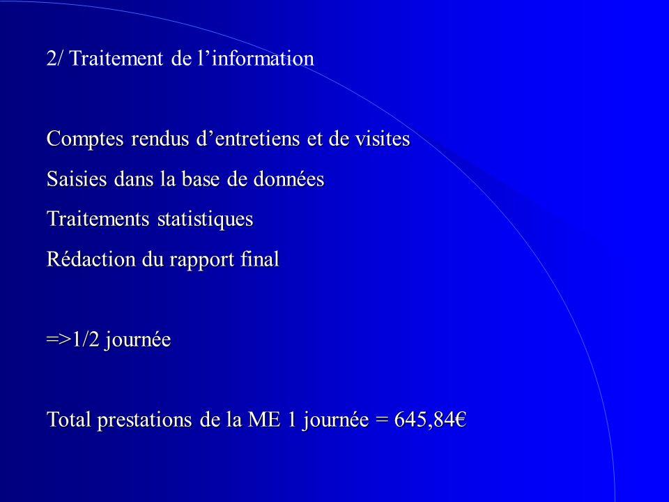2/ Traitement de linformation Comptes rendus dentretiens et de visites Saisies dans la base de données Traitements statistiques Rédaction du rapport f