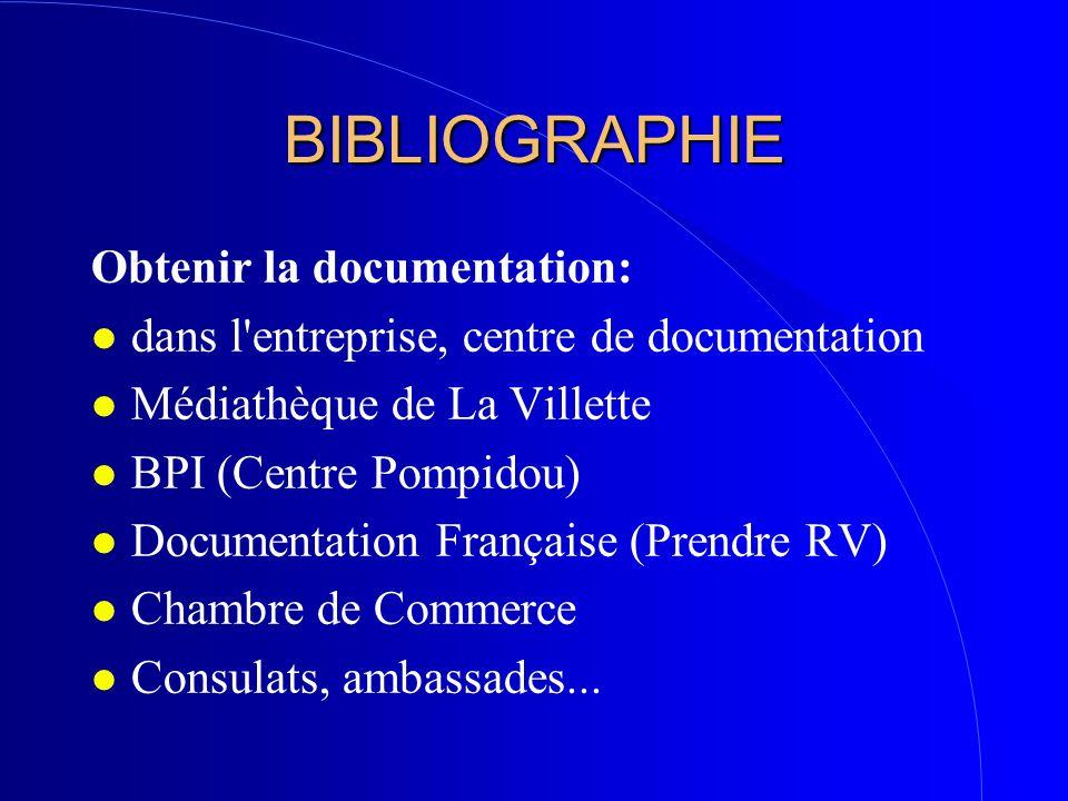BIBLIOGRAPHIE Obtenir la documentation: l dans l'entreprise, centre de documentation l Médiathèque de La Villette l BPI (Centre Pompidou) l Documentat