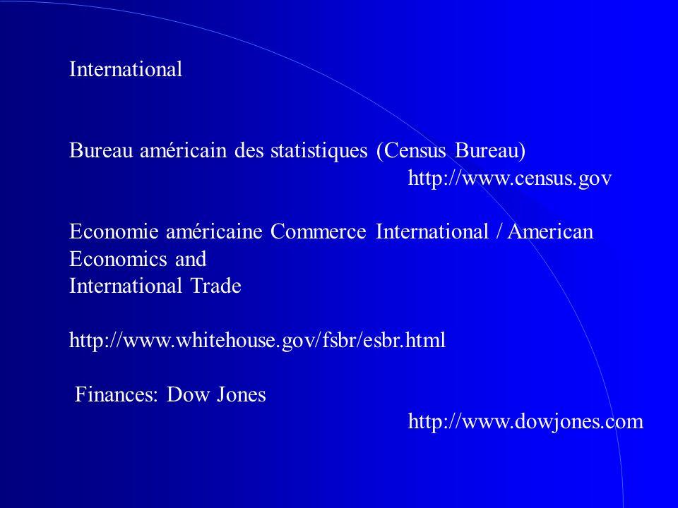 International Bureau américain des statistiques (Census Bureau) http://www.census.gov Economie américaine Commerce International / American Economics
