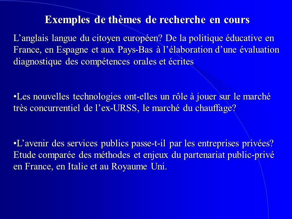 Exemples de thèmes de recherche en cours Langlais langue du citoyen européen? De la politique éducative en France, en Espagne et aux Pays-Bas à lélabo