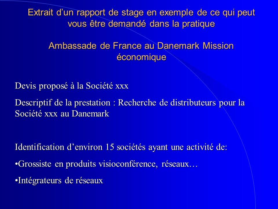 Extrait dun rapport de stage en exemple de ce qui peut vous être demandé dans la pratique Ambassade de France au Danemark Mission économique Devis pro
