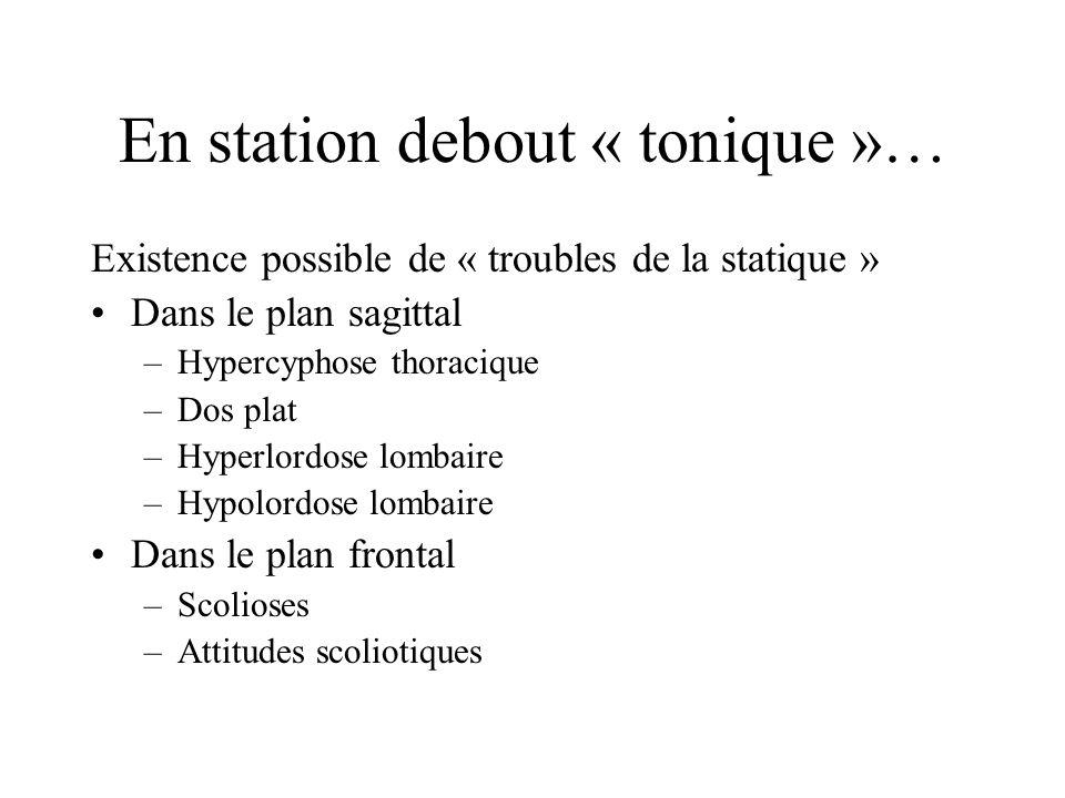 En station debout « tonique »… Existence possible de « troubles de la statique » Dans le plan sagittal –Hypercyphose thoracique –Dos plat –Hyperlordos