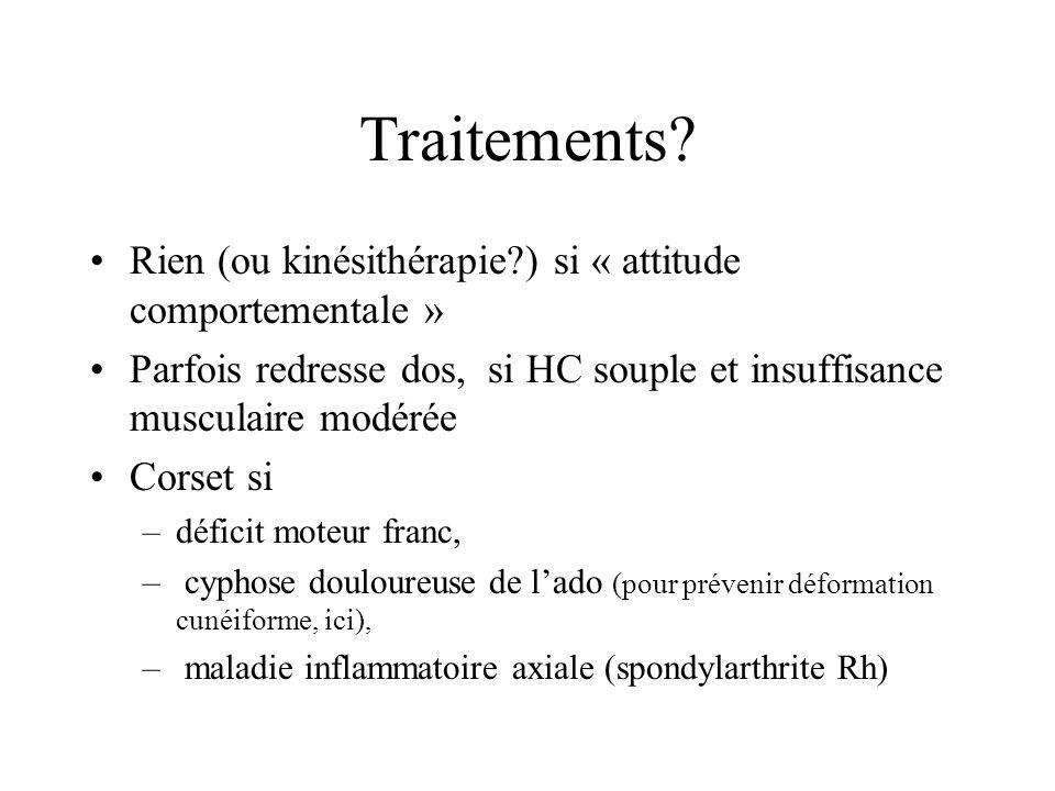 Traitements? Rien (ou kinésithérapie?) si « attitude comportementale » Parfois redresse dos, si HC souple et insuffisance musculaire modérée Corset si