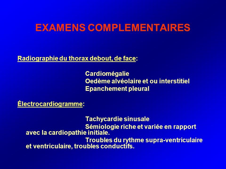 EXAMENS COMPLEMENTAIRES Radiographie du thorax debout, de face: Cardiomégalie Oedème alvéolaire et ou interstitiel Epanchement pleural Électrocardiogr