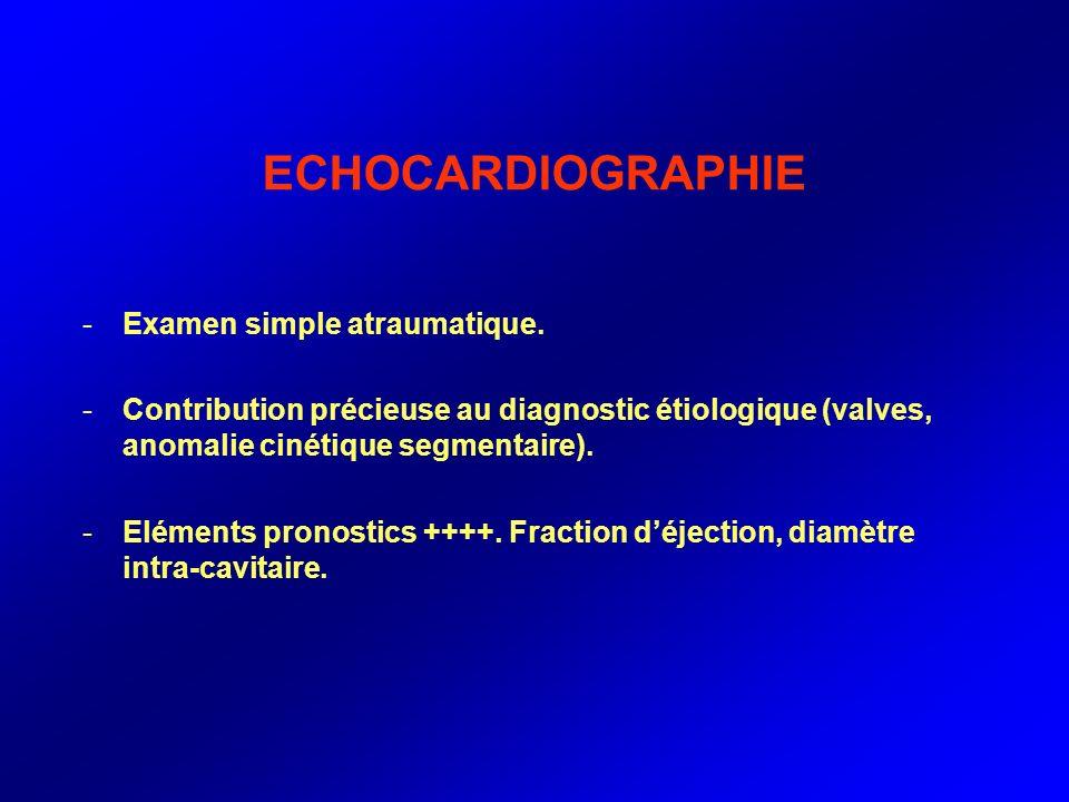 ECHOCARDIOGRAPHIE -Examen simple atraumatique. -Contribution précieuse au diagnostic étiologique (valves, anomalie cinétique segmentaire). -Eléments p