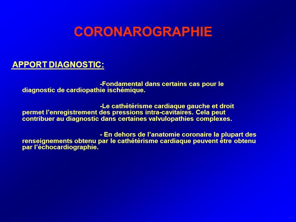 CORONAROGRAPHIE APPORT DIAGNOSTIC: -Fondamental dans certains cas pour le diagnostic de cardiopathie ischémique. -Le cathétérisme cardiaque gauche et