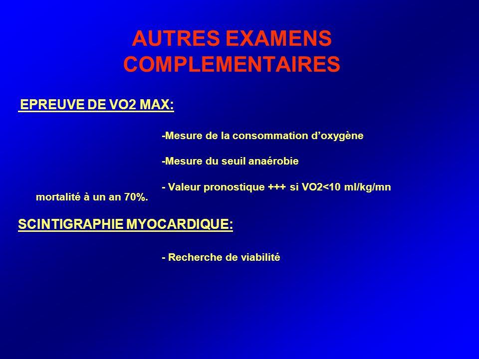 AUTRES EXAMENS COMPLEMENTAIRES EPREUVE DE VO2 MAX: -Mesure de la consommation doxygène -Mesure du seuil anaérobie - Valeur pronostique +++ si VO2<10 m