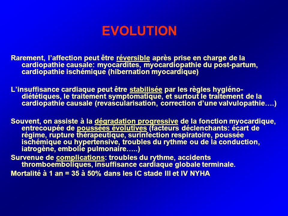 EVOLUTION Rarement, laffection peut être réversible après prise en charge de la cardiopathie causale: myocardites, myocardiopathie du post-partum, car