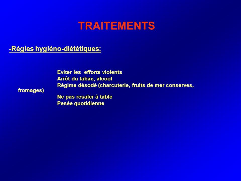 TRAITEMENTS -Régles hygiéno-diététiques: Eviter les efforts violents Arrêt du tabac, alcool Régime désodé (charcuterie, fruits de mer conserves, froma