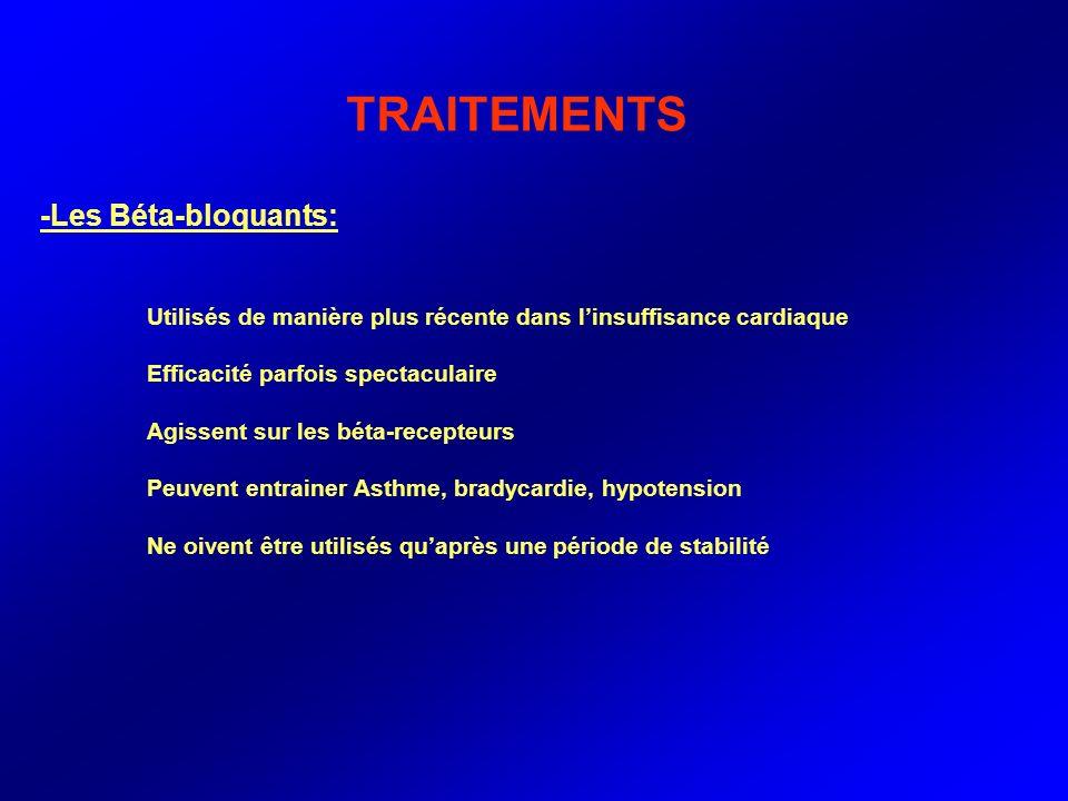 TRAITEMENTS -Les Béta-bloquants: Utilisés de manière plus récente dans linsuffisance cardiaque Efficacité parfois spectaculaire Agissent sur les béta-