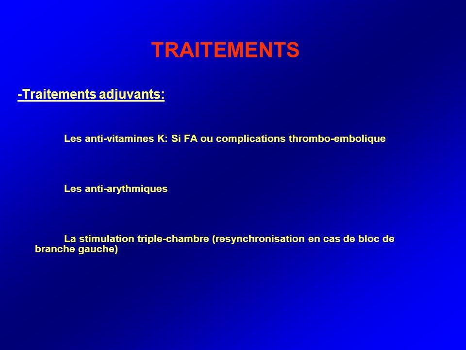 TRAITEMENTS -Traitements adjuvants: Les anti-vitamines K: Si FA ou complications thrombo-embolique Les anti-arythmiques La stimulation triple-chambre