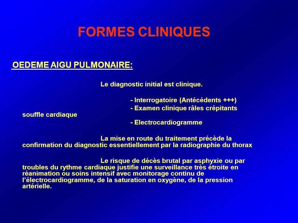 FORMES CLINIQUES OEDEME AIGU PULMONAIRE: Le diagnostic initial est clinique. - Interrogatoire (Antécédents +++) - Examen clinique râles crépitants sou