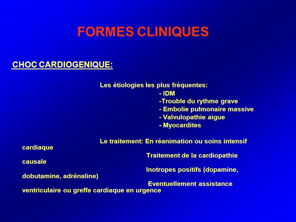 FORMES CLINIQUES CHOC CARDIOGENIQUE: Les étiologies les plus fréquentes: - IDM -Trouble du rythme grave - Embolie pulmonaire massive - Valvulopathie a