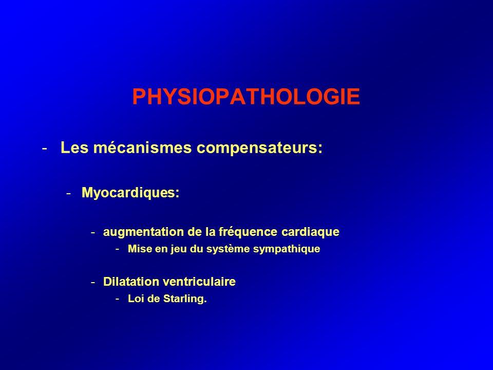 PHYSIOPATHOLOGIE -Les mécanismes compensateurs: -Myocardiques: -augmentation de la fréquence cardiaque -Mise en jeu du système sympathique -Dilatation