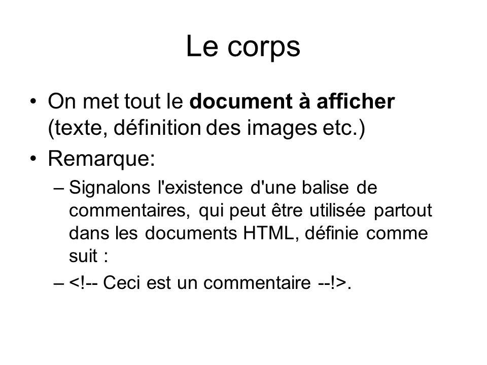 Le corps On met tout le document à afficher (texte, définition des images etc.) Remarque: –Signalons l existence d une balise de commentaires, qui peut être utilisée partout dans les documents HTML, définie comme suit : –.