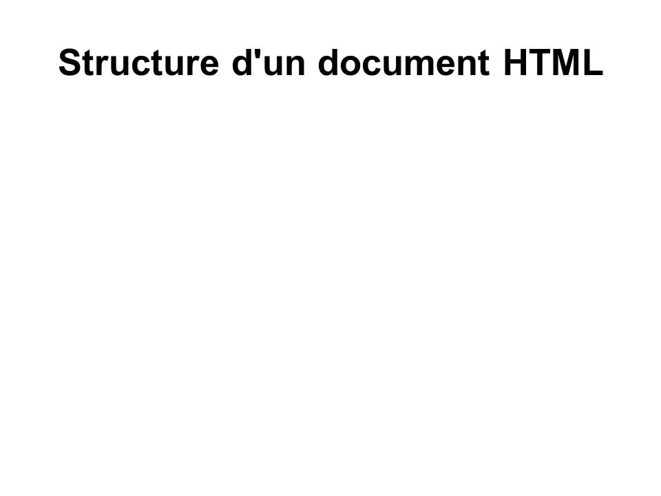 Structure d un document HTML