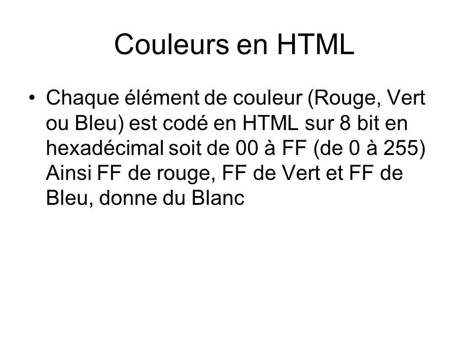 Couleurs en HTML Chaque élément de couleur (Rouge, Vert ou Bleu) est codé en HTML sur 8 bit en hexadécimal soit de 00 à FF (de 0 à 255) Ainsi FF de rouge, FF de Vert et FF de Bleu, donne du Blanc