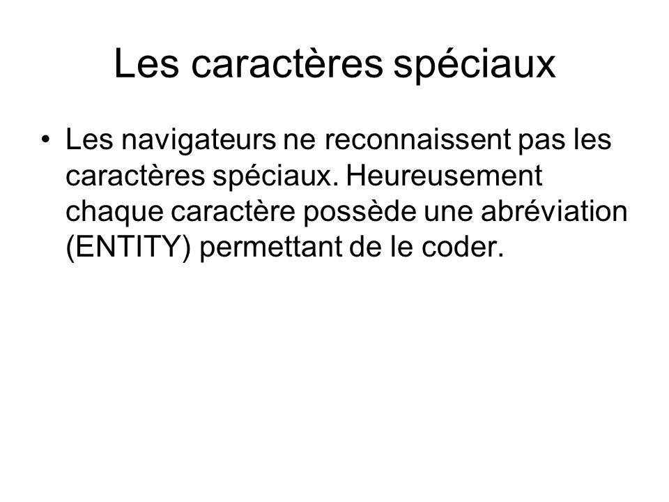 Les caractères spéciaux Les navigateurs ne reconnaissent pas les caractères spéciaux.