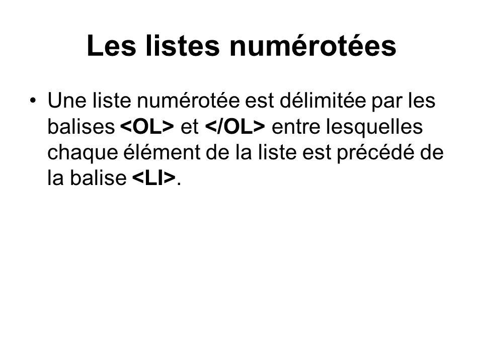 Les listes numérotées Une liste numérotée est délimitée par les balises et entre lesquelles chaque élément de la liste est précédé de la balise.