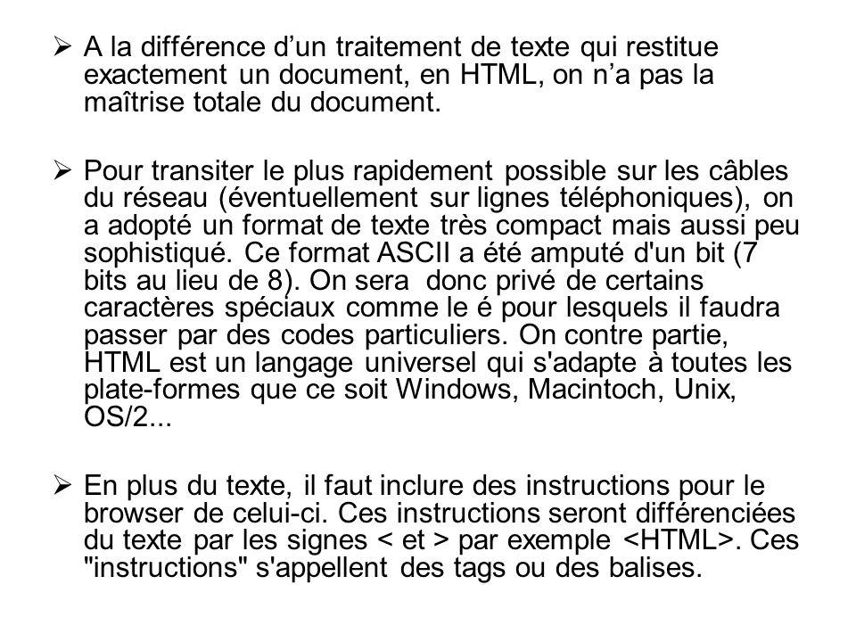 A la différence dun traitement de texte qui restitue exactement un document, en HTML, on na pas la maîtrise totale du document.
