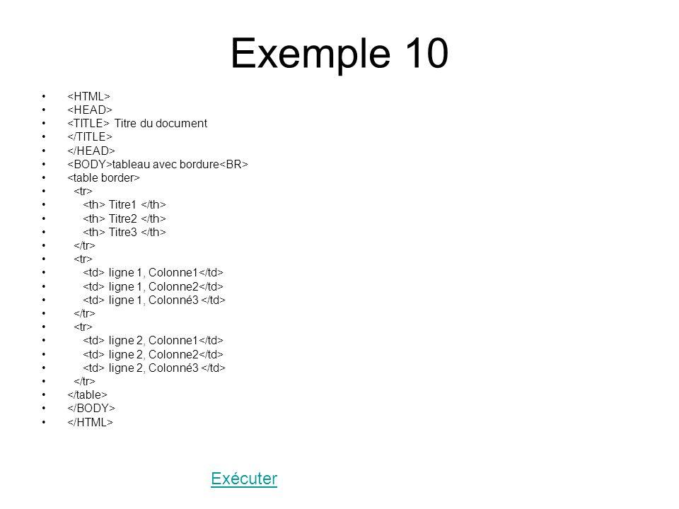 Exemple 10 Titre du document tableau avec bordure Titre1 Titre2 Titre3 ligne 1, Colonne1 ligne 1, Colonne2 ligne 1, Colonné3 ligne 2, Colonne1 ligne 2, Colonne2 ligne 2, Colonné3 Exécuter