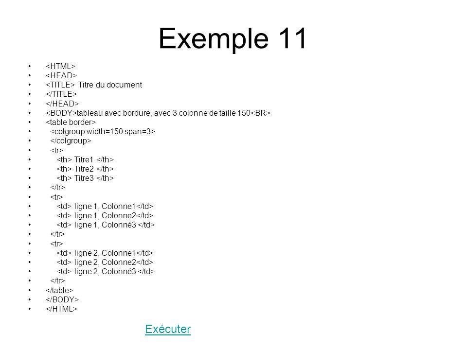 Exemple 11 Titre du document tableau avec bordure, avec 3 colonne de taille 150 Titre1 Titre2 Titre3 ligne 1, Colonne1 ligne 1, Colonne2 ligne 1, Colonné3 ligne 2, Colonne1 ligne 2, Colonne2 ligne 2, Colonné3 Exécuter