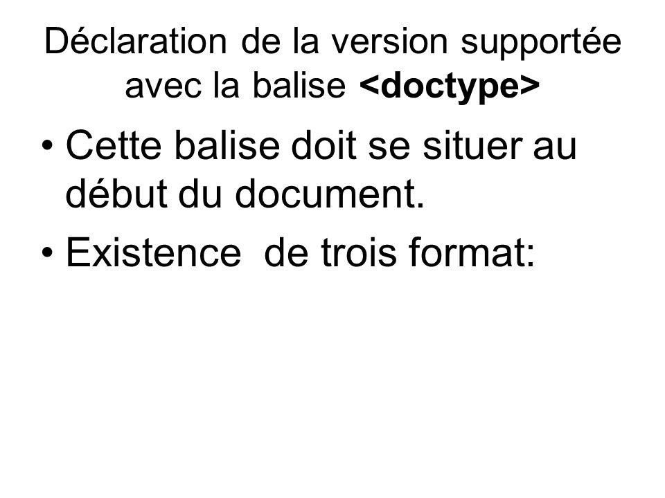 Déclaration de la version supportée avec la balise Cette balise doit se situer au début du document.