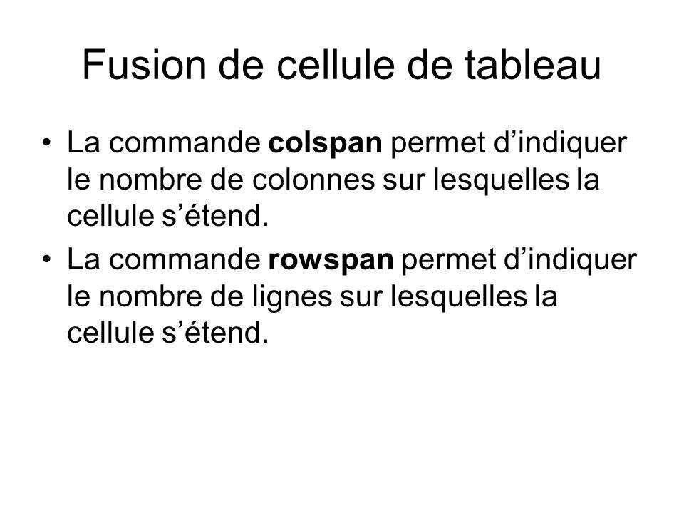 Fusion de cellule de tableau La commande colspan permet dindiquer le nombre de colonnes sur lesquelles la cellule sétend.