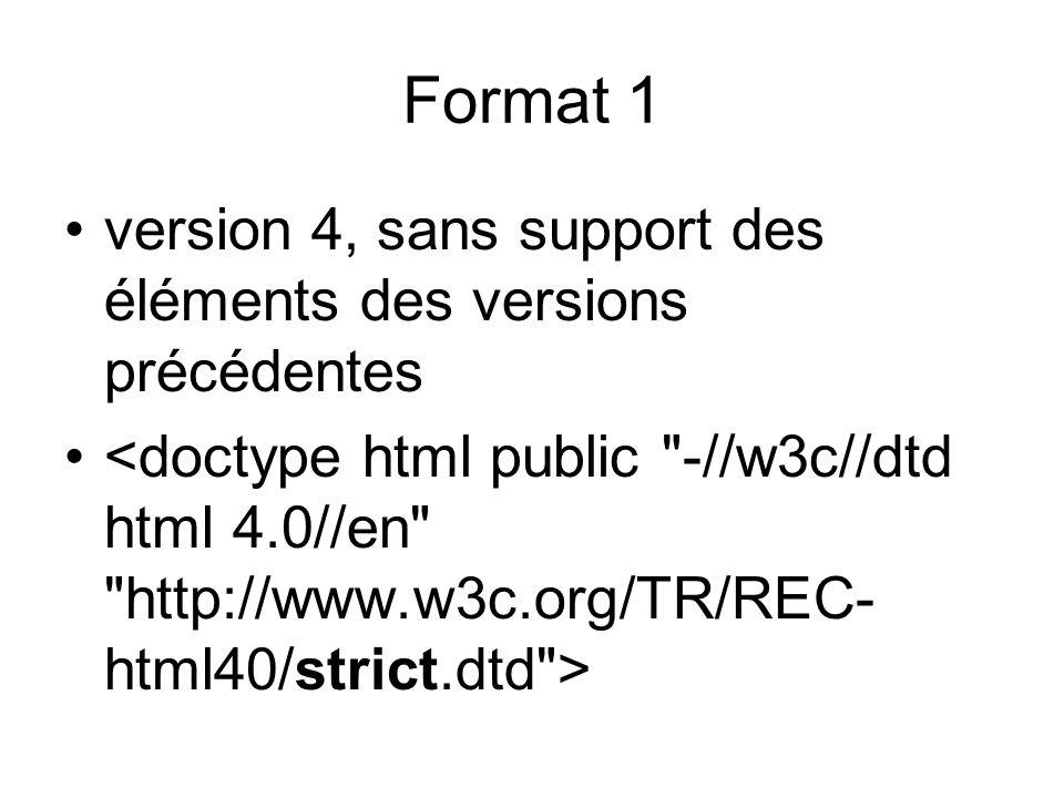 version 4 avec support des anciennes versions de html : Format 2