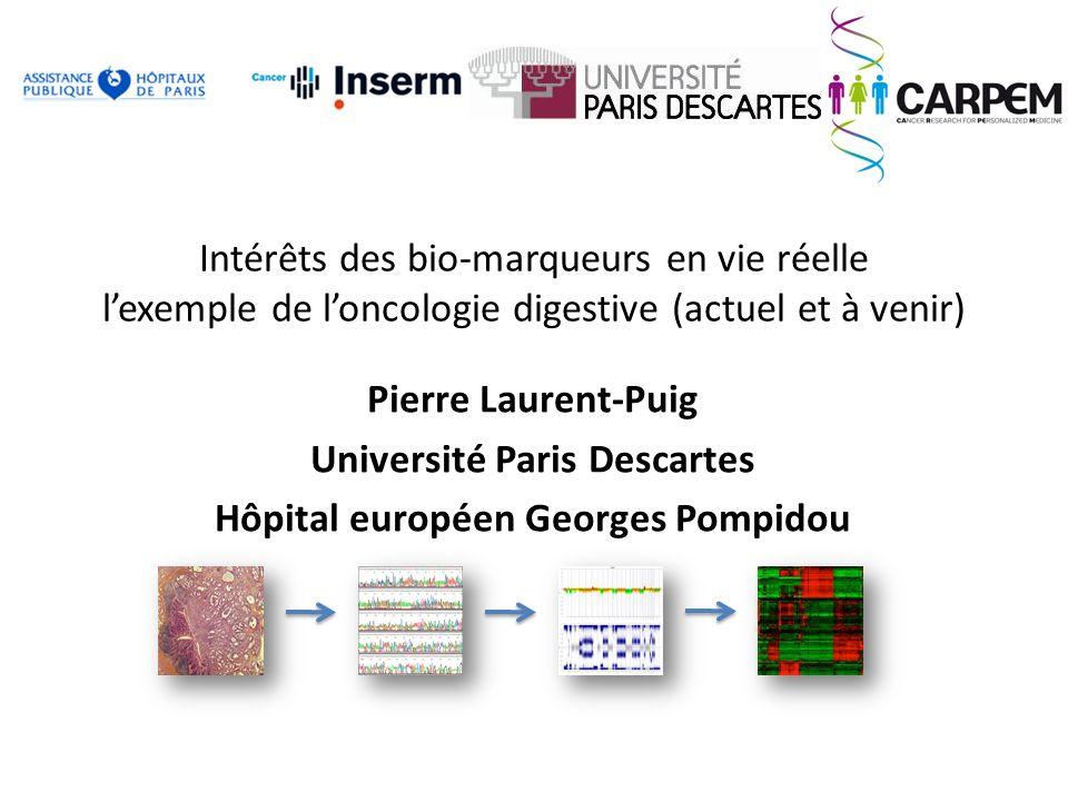 Intérêts des bio-marqueurs en vie réelle lexemple de loncologie digestive (actuel et à venir) Pierre Laurent-Puig Université Paris Descartes Hôpital e