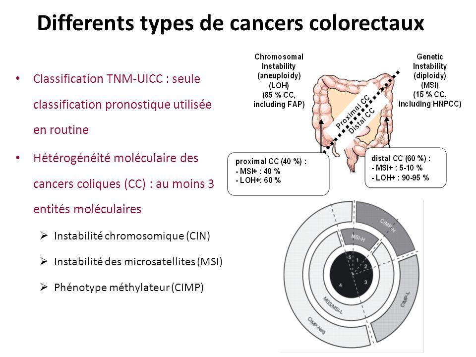 Differents types de cancers colorectaux Classification TNM-UICC : seule classification pronostique utilisée en routine Hétérogénéité moléculaire des c