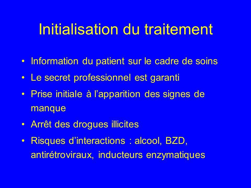 Initialisation du traitement Information du patient sur le cadre de soins Le secret professionnel est garanti Prise initiale à lapparition des signes