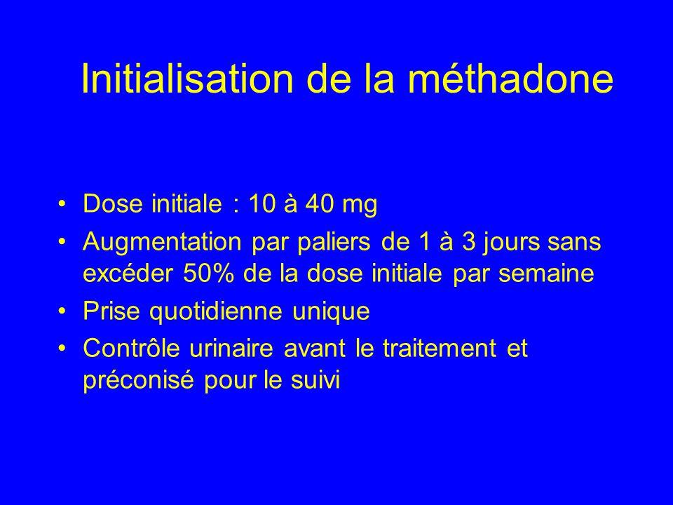 Initialisation de la méthadone Dose initiale : 10 à 40 mg Augmentation par paliers de 1 à 3 jours sans excéder 50% de la dose initiale par semaine Pri