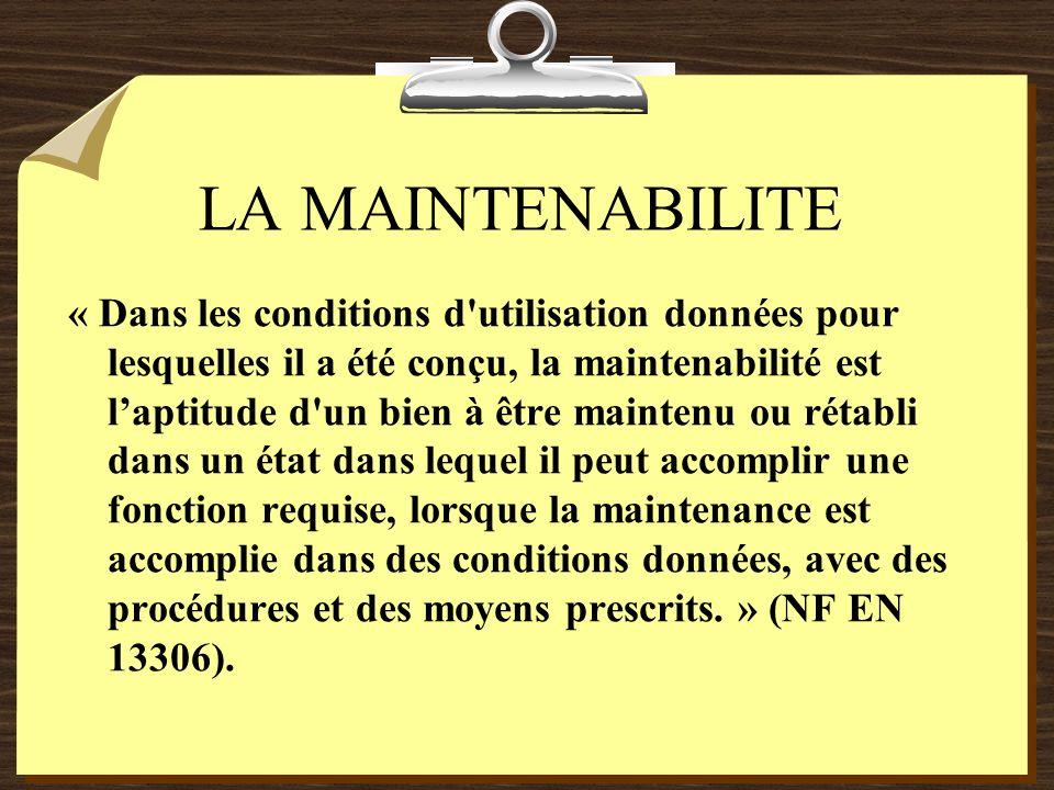 LA MAINTENABILITE SYSTEMES REPARABLES