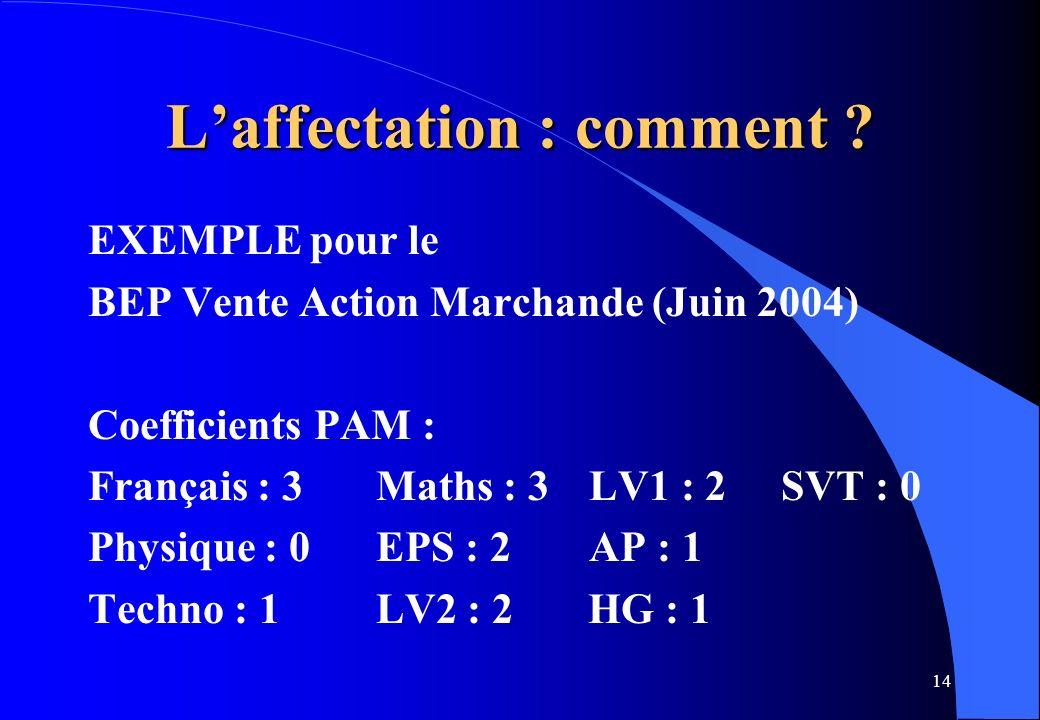 14 Laffectation : comment ? EXEMPLE pour le BEP Vente Action Marchande (Juin 2004) Coefficients PAM : Français : 3Maths : 3 LV1 : 2 SVT : 0 Physique :